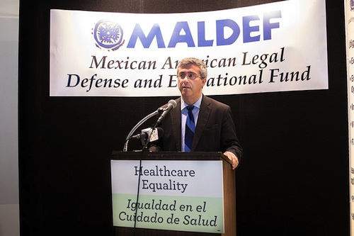 Tom Saenz, MALDEF president and chief lawyer, speaks at a press conference in Los Angeles on July 12, 2017. (Courtesy of SEIU-UHW)