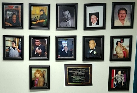Memorial Wall photos of some of the men and women who spent decades volunteering to help Salazar Park in unincorporated East Los Angeles. (Photo courtesy Angel Support Group August 1, 2017)