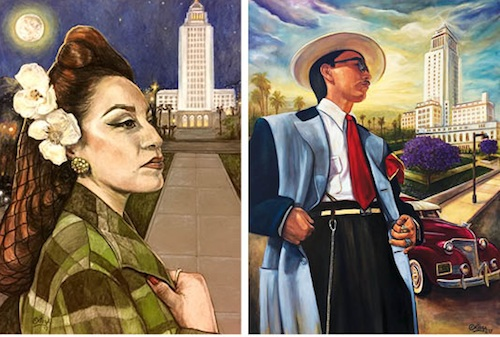 "Artist Rick Ortega says his art (pictured) is a reflection of modern day Latinos that still carry ""the spirit"" of past generations. His new exhibition, ""Nuestro Espiritu/Our Spirit is Timeless,"" opens Sunday in East Los Angeles. (Photo courtesy ChimMaya Gallery)"