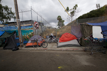 Homeless residents live in tents in downtown San Diego where a Hepatitis A virus has killed 16 people and sickened nearly 450 others. (Courtesy of Alan Horowitch)