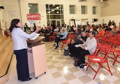 Sup. Hilda Solis speaks at East L.A. community meeting she hosted to give residents information about the I-710 Corridor Project Draft EIR. (photo courtesy of the Office of Sup. Hilda Solis)