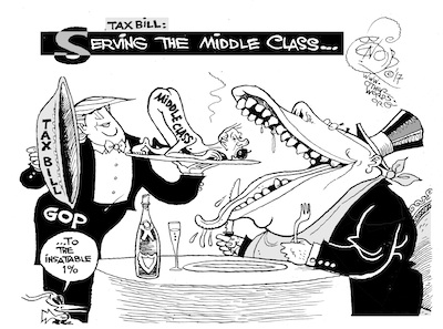 Serving the Middle Class ... To the 1 percent. (Khalil Bendib / OtherWords.org)