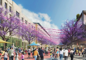 "The Lincoln Heights Maker District would include mixed-use development from Avenue 19 to San Fernando Road. The development team of Lincoln Properties and Fifteen Group propose to create ""Festival Street"" among the many recreational amenities. (Rendering courtesy Fifteen Group)"