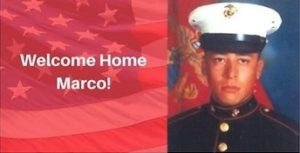 Announcement of event to welcome back deported veteran Marco Chavez, shown here in picture during his military service. (Honorably Discharged, Dishonorably Deported Coalition)