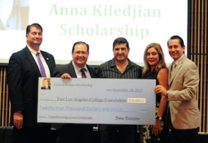 "The East Los Angeles College Foundation receives a check for $25,000 from Physics and Astronomy Department Chairman Viken Kiledjian to establish a scholarship in memory of his late wife, Anna Kiledjian during Tuesday's ""Transforming Lives"" Giving Campaign. From left, Foundation Vice Chair Ashod Mooradian, ELAC President Marvin Martinez, Kiledjian, Psychology Department Chairperson Dr. Sherrie Davie and Foundation Executive Director Paul De La Cerda. (Photo by Mario Villegas)"